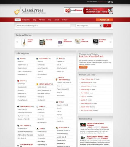 website like craigslist classified ads template wordpress theme classipress Best Real Estate Themes