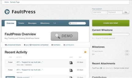 faultPress bug tracking Website Clones and Templates
