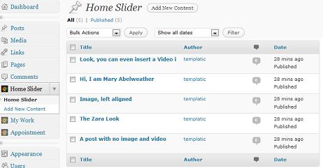 manage featured slider appointments template Tips for the Appointments Wordpress Theme