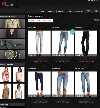 Clothing Design Templates Online massimo online store template