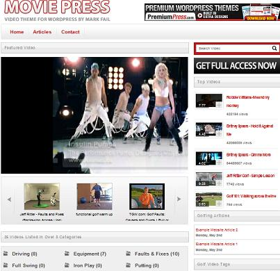 youtube moviepress wordpress Website Clones and Templates
