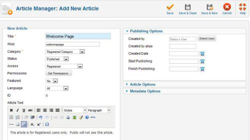 Joomla new article Joomla 1.6   How to Redirect Login to Hidden Article