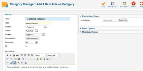 Joomla new category Joomla 1.6   How to Redirect Login to Hidden Article