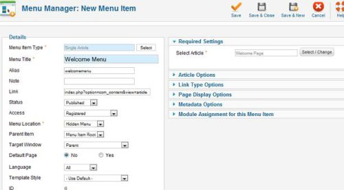 Joomla new menu item Joomla 1.6   How to Redirect Login to Hidden Article