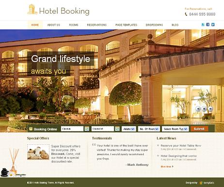hotel template reservation Website Clones and Templates