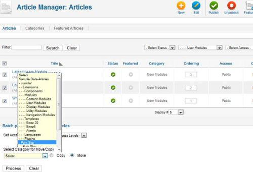Joomla 1.7 Article Manager Batch Processing Category