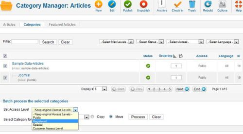 Joomla 1.7 Category Manage Batch Processing Access Level
