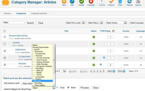 Joomla 1.7 Category Manage Batch Processing Category