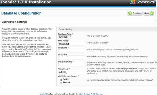 Joomla 1.7 Database Configuration