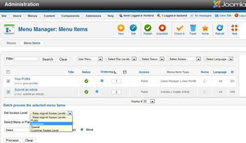 Joomla 1.7 Batch Processing Menu Item Access Level