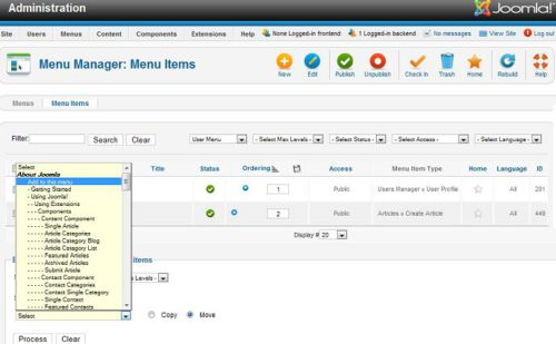 Joomla 1.7 Menu Batch Processing - Move/Copy