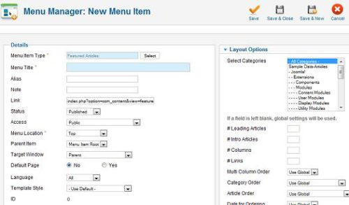 Joomla 1.7 Featured Articles Menu Type can choose categories