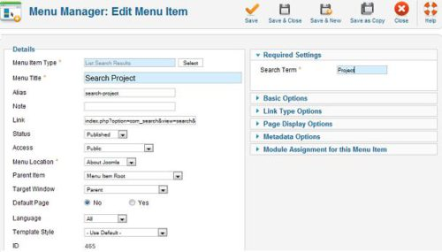 Joomla 1.7 Search Menu Item