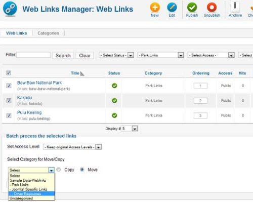 Joomla 1.7 Weblink Manager Batch Processing - Category