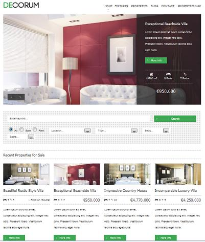 real estate template decorum front Cost to Start a Real Estate Website with deCorum