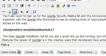 Joomla 17 article manager module in article Joomla 1.7 Help   How to Place a Module in an Article