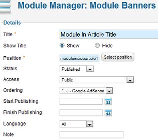 Joomla 17 module manager module in article Joomla 1.7 Help   How to Place a Module in an Article