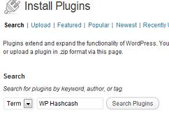 Wordpress Search for WP Hashcash