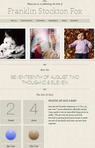 baby announcement wordpress template Website Clones and Templates