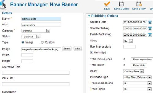 Joomla 1.7 Banner Manager - Create new Banner
