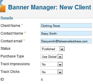 Joomla 1.7 Banner Manager - Create new Client