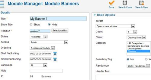 joomla 17 module manager create new banner module Joomla 1.7 Help   How to add/edit Banners