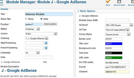 Joomla google adsense module
