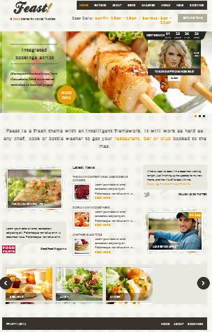 menu restaurant template feast Cost to Make a Restaurant Website with Wordpress Feast