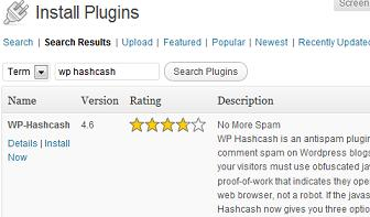 Wordpress Install Plugin WP Hashcash - Install Now