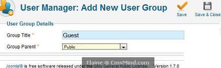 Joomla 17 cmsmind elaine add new group guest Joomla 1.7   5 Easy Steps to Create Guest Only Access to Menus and Modules