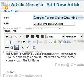 Joomla 17 elaine cmsmind embed google forms loading Joomla 1.7 Help   How to Embed Google Forms into an Article