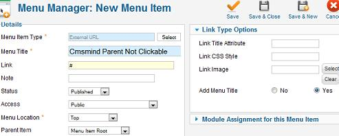 cmsmind elaine 1 menu manager parent not clickable Joomla 1.7 Tutorial   How to Make the Parent Menu Item Not Clickable