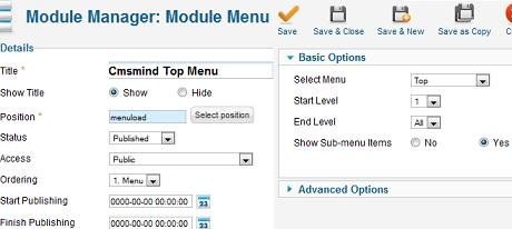 Module Manager - Top Menu Change Module Position