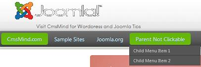 Joomla 1.7 - Parent Dropdown Menu Not Clickable