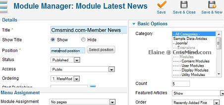 joomla 17 cmsmind elaine 3 module manager metamod position Joomla 1.7 Extensions   How to Hide Modules from Registered Users