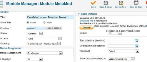 joomla 17 cmsmind elaine 4 metamod module Joomla 1.7 Extensions   How to Hide Modules from Registered Users