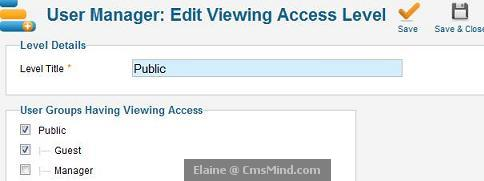 joomla 17 cmsmind elaine edit public acl add guest Joomla 1.7   5 Easy Steps to Create Guest Only Access to Menus and Modules