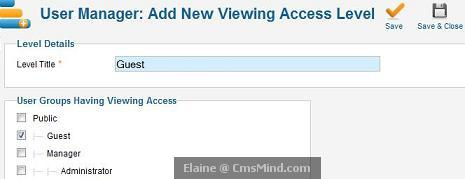 joomla 17 cmsmind elaine new viewing acl guest Joomla 1.7   5 Easy Steps to Create Guest Only Access to Menus and Modules