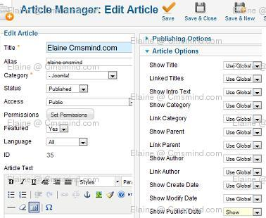 Joomla 1.7 Article Manager Edit Article Article Details
