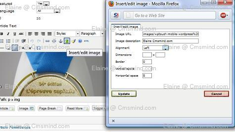 joomla 17 elaine cmsmind edit image wrap left Joomla 1.7 Tutorial   How to Wrap Text Around Images