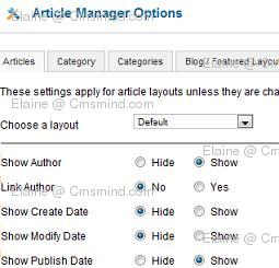 Joomla 1.7 - Article Manager Global Options