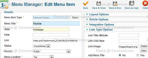 joomla 17 elaine cmsmind insert image no title new home Joomla 1.7   How to Use Images as Menu Items Instead of Text