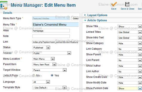 Joomla 1.7 Menu Manager Article Details
