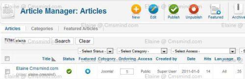 joomla17 elaine cmsmind article hits id Joomla 1.7 Tips   How to Reset Article Hits/Counts