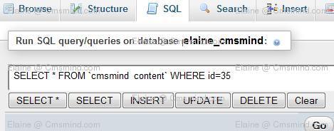 joomla17 elaine cmsmind phpmyadmin article hits id Joomla 1.7 Tips   How to Reset Article Hits/Counts