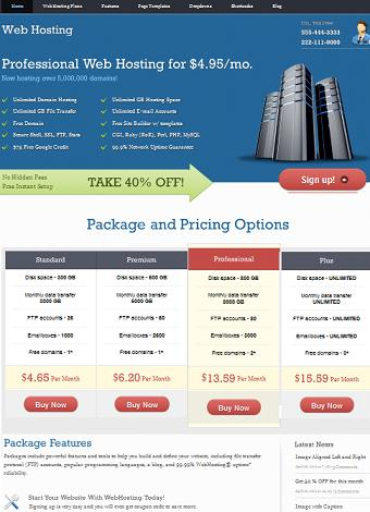 webhosting template elaine cmsmind wordpress Webhosting Clone   Create a Webhosting Website with Wordpress