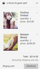 checkout dropdown in the PhotoMedia Ecommerce Template