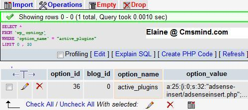 Wordpress phpMyAdmin Run SQL to edit Active_Plugins