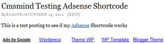 Adsense Shortcode View Post