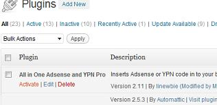 Wordpress Plugin All in One Adsense and YPN Pro